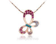 Колье «Бабочка-красавица», украшено кристаллами, золотое напыление, купить