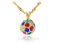 Колье «Магический воздушный шар», кристаллы, покрытие золотом, купить
