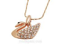 Колье «Принцесса-лебедь», Сваровски, золотое покрытие, купить