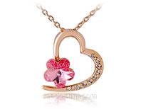 Колье «Пурпурное сердце», покрытие золотом 18K, Кристаллы Сваровски, купить