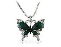 Кулон «Зеленая бабочка» с кристаллами, купить