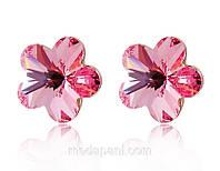 Серьги «Розовое цветение сливы» с покрытием золотом 750 пробы, купить
