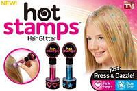 Набор штампов татуировок для волос Hot Stamps, блестки для украшения волос
