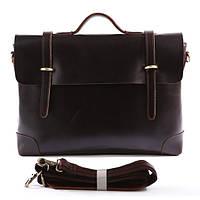 Кожаный портфель Tiding Bag 7082С коричневый глянец