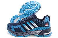 Кроссовки женские Adidas Marathon Flyknit синие с голубым (адидас)