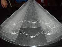 Фата свадебная вышитая бисером круглая