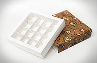Коробка для 16 конфет, макаронс, кейк-попсов 145*145*29 мм. с ложементом
