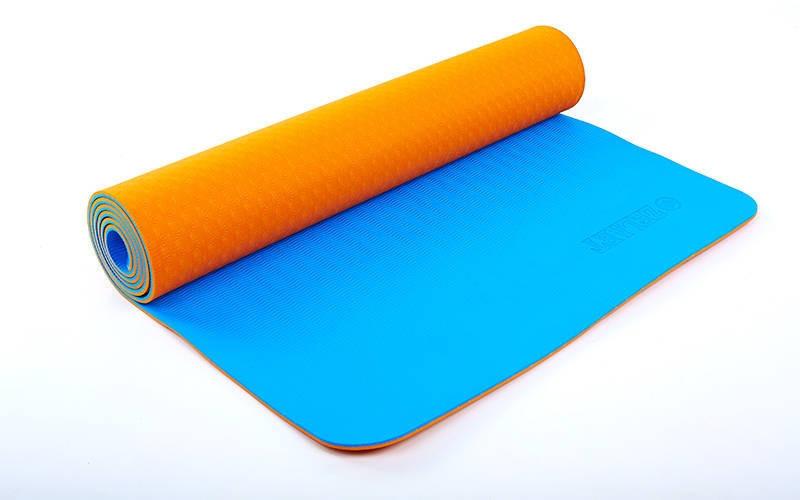 Килимок для фітнесу Yoga mat 2-х шаровий помаранчевий-синій TPE+TC 6мм FI-5172-5