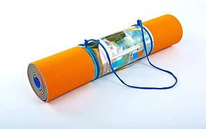 Килимок для фітнесу Yoga mat 2-х шаровий помаранчевий-синій TPE+TC 6мм FI-5172-5, фото 2