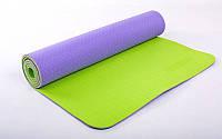 Коврик для фитнеса Yoga mat 2-х слойный сиреневый-салатовый TPE+TC 6мм  FI-5172-9