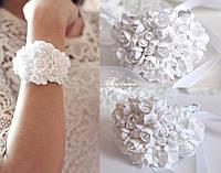 """Свадебный браслет с цветами """"Белоснежные фрезии"""""""