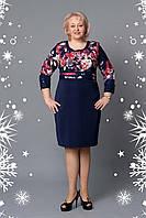 Красивое платье с сочетанием однотонной ткани и цветочного принта