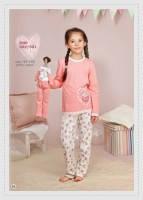 Пижамка для девочки в красивом персиковом цвете (утепленная легкой баечкой) Р92;98;104