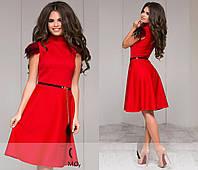 Трикотажное расклешенное платье с перьями.  Разные цвета.