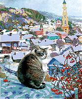 Набор для вышивки бисером POINT ART Кот на крыше, размер 29х35 см, арт. 1630