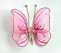 Бабочка для штор малая нежно-розовая 10*10 см