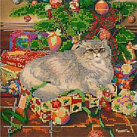 Набор для вышивки бисером POINT ART Кот в подарках, размер 20х20 см, арт.1465
