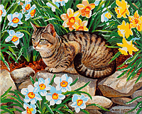 Набор для вышивки бисером POINT ART Кот на камнях, размер 37х30 см, арт. 1273