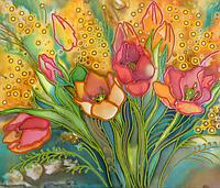 Набор для вышивки бисером Первые тюльпаны, размер 35х30 см, арт. 1298