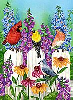 Набор для вышивки бисером POINT ART Птички на заборе, размер 35х30 см, арт. 1256