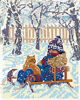 Набор для вышивки бисером POINT ART Пришла зима, размер 20х25 см, арт. 1466