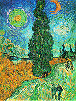 """Набор для вышивки бисером POINT ART Винсент Ван Гог """"Пейзаж с дорогой и кипарисом"""", размер 35х45 см, арт. 1374"""