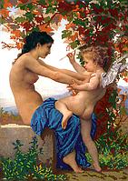 """Набор для вышивки бисером POINT ART Вильям Бугро """"Девушка с Купидоном"""", размер 35х50 см, арт. 1535"""