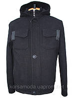 Мужское утепленное кашемировое пальто-куртка со съемным капюшоном черного цвета.