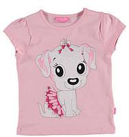 Футболка для девочки LC Waikiki розового цвета с собачкой на груди 9-10(рост 134-140)
