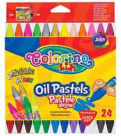 Карандаши пастельные, маслянные, 24 цветов , в пластиковом контейнере, ТМ COLORINO, 36085PTR