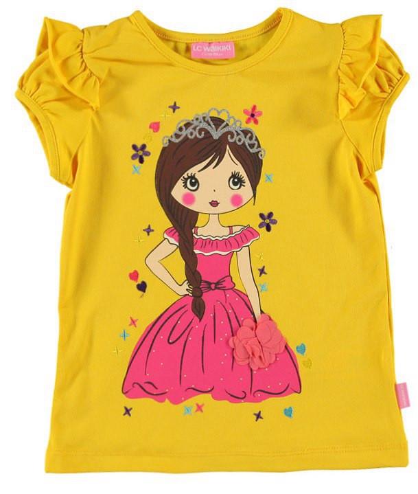 Футболка для девочки LC Waikiki желтого цвета с принцессой на груди