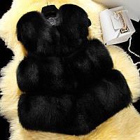 Меховая жилетка Black  M, Черный