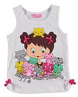 Майка для девочки LC Waikiki белого цвета с девочкой и котиками на груди