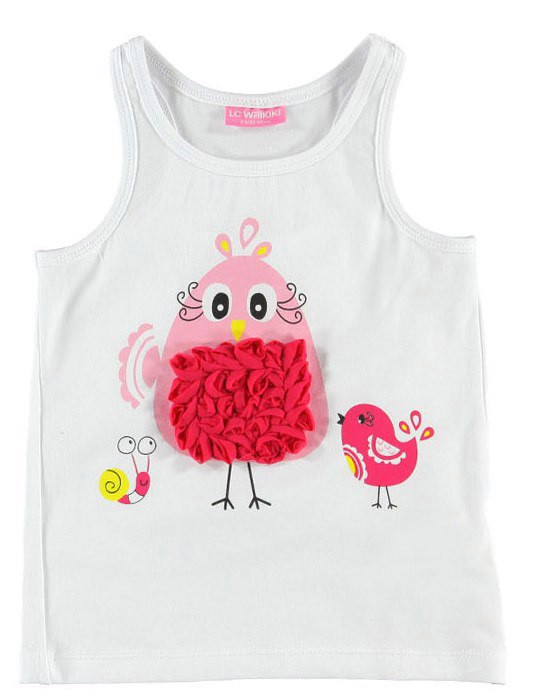Майка для девочки LC Waikiki белого цвета с птичками  на груди