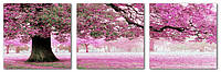Картина по номерам 50х150 см. Триптих Весенний цвет