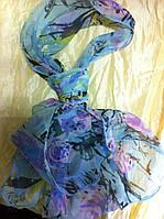 Голубой шейный платок-галстук шифон длина 139 см