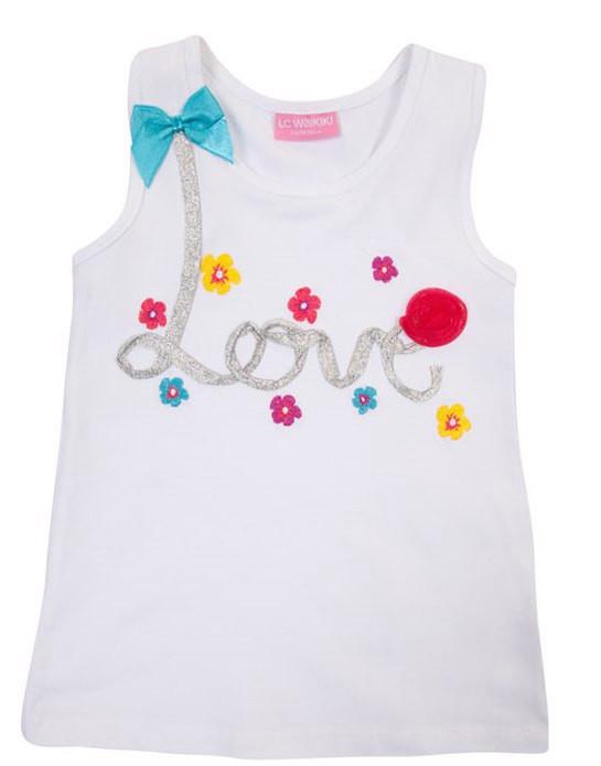 Майка для девочки LC Waikiki белого цвета с надписью Love