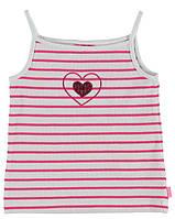Майка для девочки LC Waikiki белого цвета в розовую полоску с сердцем на груди