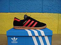 Кроссовки Adidas Hamburg (Адидас гамбург ) чёрные с цветной полоской