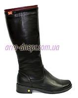 Женские классические кожаные сапоги на меху