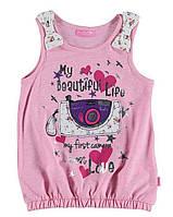 Майка для девочки LC Waikiki розового цвета с картинкой на груди