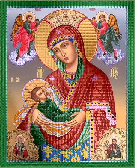 """Схема для вишивання бісером на атласі ікона """"Пресвята Богородиця Годувальниця"""""""