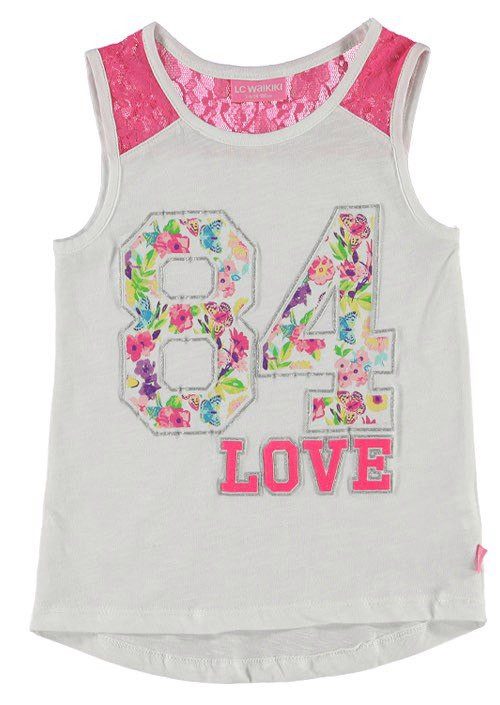 Майка для девочки LC Waikiki белого цвета с надписью 84 Love