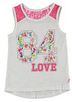 Майка для девочки LC Waikiki белого цвета с надписью 84 Love 9-10(рост 134-140)