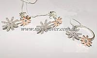 Ювелирный набор украшений из серебра с золотом Аманда