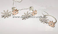 Набор украшений из серебра с золотомыми вставками Аманда