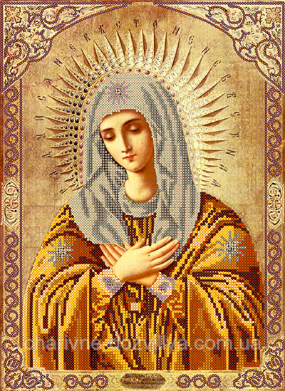 """Схема для вышивки бисером на атласе икона """" Пресвятая Богородица Умиления """""""