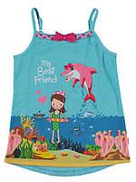 Майка для девочки LC Waikiki голубого цвета с девочкой и дельфином