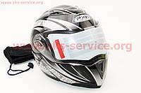 Шлем трансформер с очками черный глянец с серым рисунком  размер М 57- 58 см