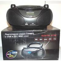 Портативный бумбокс 8128С: 12 Вт, радио FM и AM, CD проигрыватель, SD/MMC/USB, часы, пульт ДУ